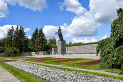 Piskaryovskoye memorial cemetery in Leningrad Stock Photo