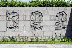 Piskaryovskoye memorial cemetery in Leningrad. Mass grave of those killed in the siege of Leningrad. Piskaryovskoye memorial cemetery in Leningrad Stock Photos