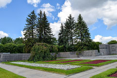 Piskaryovskoye minnes- kyrkogård i Leningrad Arkivfoton
