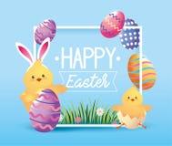 Pisklęcy wearin królika ucho z Easter jajkami ilustracja wektor