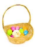pisklęta dziecka Wielkanoc koszykowi jajka z tworzyw sztucznych Obraz Royalty Free