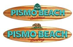 Pismo Beach California surfboard sign. Pismo Beach California PCH Surfboard Surfing wood sign vintage style beach boardwalk vector illustration