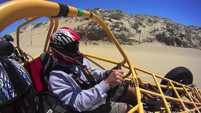 Pismo Beach California - San Dunes Beach Buggy 2. Yellow Driver stock video footage