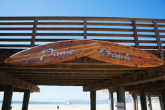 Pismo Beach Pier. A sign on the Pismo Beach Pier Royalty Free Stock Photography