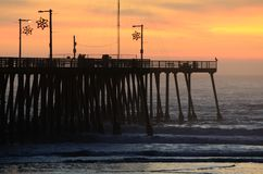 Pismo Pier Surf Royalty Free Stock Images