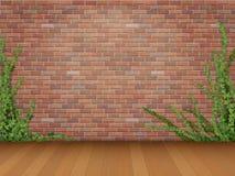 Piso de entarimado rojo de la pared de ladrillo de la hiedra stock de ilustración