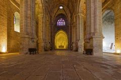 Piso de la iglesia en la abadía de Fontfroide Imagenes de archivo