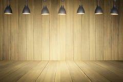 Piso de madera con la pared de madera Imagen de archivo libre de regalías