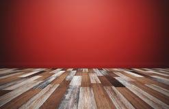 Piso de madera con la pared roja, sitio vacío para los fondos imagenes de archivo