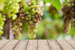 Piso de madera con los manojos de uvas de vino Fotos de archivo