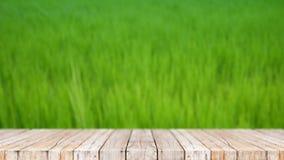 piso de madera 4K contra fondo del extracto del campo del verde de la naturaleza almacen de metraje de vídeo