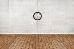 Piso de madera vacío y sitio blanco de la pared representación 3d Foto de archivo libre de regalías