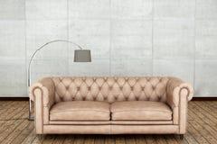 Piso de madera y sitio blanco de la pared representación 3d Imagen de archivo libre de regalías