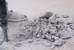 Piso del cemento de la perforación foto de archivo