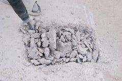 Piso del cemento de la perforación imagen de archivo