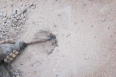 Piso del cemento de la perforación foto de archivo libre de regalías