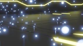 Piso met?lico futurista del extracto con los circuitos de ne?n que brillan intensamente integrados en el piso y los orbes que bri ilustración del vector