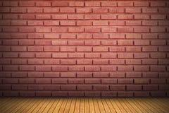 piso rojo de la pared de ladrillo y de madera con la sombra para el modelo y el backgr Imagen de archivo