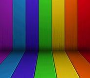 Piso y pared de madera coloridos Foto de archivo libre de regalías