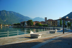 Pisogne, Iseo lake, Italy. Village of Pisogne island, Iseo lake, Italy. The lake promenade royalty free stock images