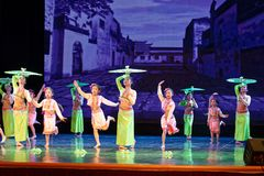 Pisotee en la exposición de enseñanza de clasificación Jiangxi del logro de los niños de la prueba de la academia de la danza de  imagen de archivo libre de regalías