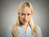 Pissed off, angry, grumpy, young woman Royalty Free Stock Photo