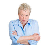 Pissed off old woman Stock Images
