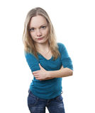 Pissed off woman with large head Stock Photography