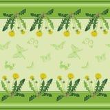 Pissenlits jaunes et papillons verts Photographie stock libre de droits