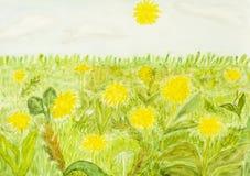 Pissenlits jaunes, peignant illustration libre de droits