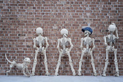 Pissing the wall. Skeleton dog and four skeletons pissing at the brick wall Royalty Free Stock Images