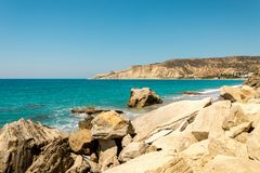 Pissouri Bay and rocky beach view, Limassol district, Cyprus Stock Photo