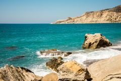 Pissouri Bay view with large rocks along the coast, Cyprus Stock Image