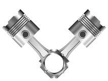 Pistão do cromo dois com as hastes e os anéis alinhados Fotos de Stock Royalty Free