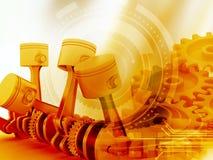pistões do motor 3d e rodas da roda denteada ilustração stock