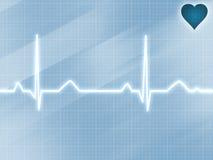 Pista azul del electrocardiograma Fotos de archivo libres de regalías
