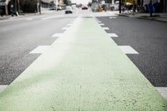 Pista ciclabile verde dipinta in via Fotografia Stock Libera da Diritti