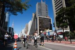 Pista da bicicleta da avenida de Paulista Foto de Stock
