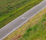 Pista da bicicleta do asfalto entre um campo verde Foto de Stock Royalty Free