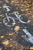 Pista da bicicleta em uma cidade Imagens de Stock