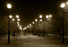Pista da noite com lâmpadas de rua Fotografia de Stock Royalty Free