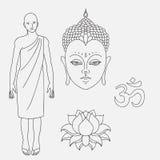 Pista de Buddha Monje budista del esquema OM firma Flor de loto dibujada mano Iconos aislados de Mudra Detallado hermoso, sereno  libre illustration