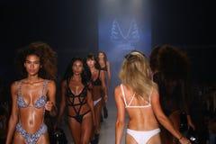 Pista de decolagem da caminhada dos modelos no desfile de moda de Minimale Animale durante a nadada 2015 de MBFW Fotos de Stock Royalty Free