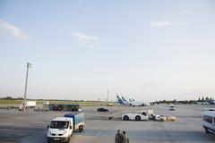 Pista de decolagem do aeroporto internacional de Kiev Boryspil em Kiev, Ucrânia Imagem de Stock