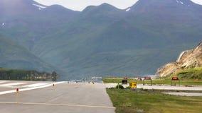 Pista de decolagem do aeroporto de Tom Masden, Unalaska Fotografia de Stock