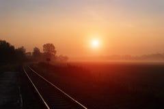 Pista de ferrocarril durante mañana de niebla del otoño Fotografía de archivo