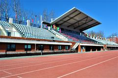 Pista de funcionamiento del estadio de la universidad del deporte de Pekín fotos de archivo libres de regalías