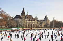 Pista de gelo do parque da cidade de Budapest Fotos de Stock Royalty Free