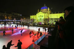 Pista de hielo de la ciudad en Zagreb Fotografía de archivo libre de regalías