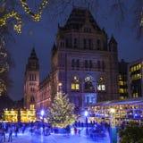 Pista de hielo de la Navidad en el museo de la historia natural en Londres Imágenes de archivo libres de regalías